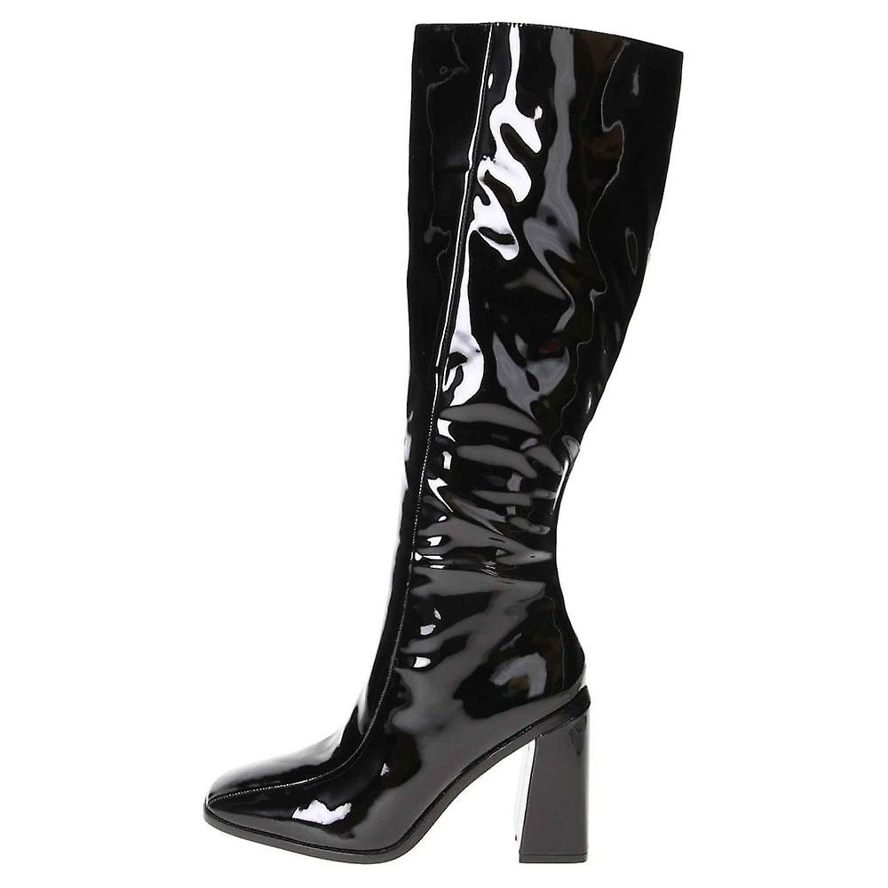 Koi Footwear Patent Chunky Wide Base High Heel Square Toe Knee Boots