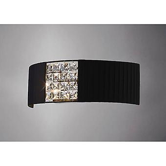 Evelyn Wall Lamp With Black Shade 2 Light Polished Chrome/crystal