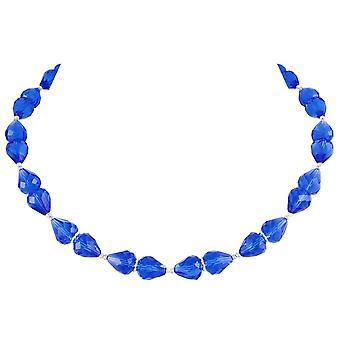 Eternal Collection raffinement safir blå krystall sølv tone halskjede