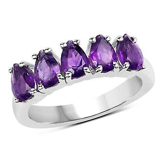Dazzlingrock Collection Sterling Silver Pear Cut Amethyst Bridal 5 Stone Anniversary Wedding Band
