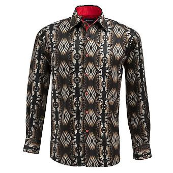Oscar Banks Satin Gold Vector Print Mens Shirt
