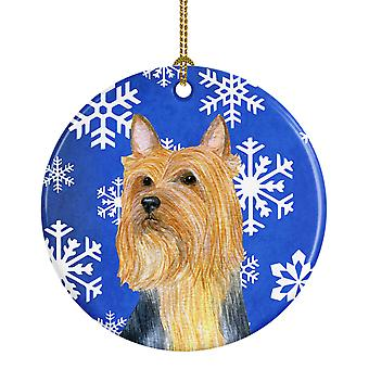 Silky Terrier Winter Snowflake Holiday Ceramic Ornament LH9271