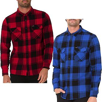 Animal Shovel Mens Long Sleeve Two Pockets Flannel Check Shirt