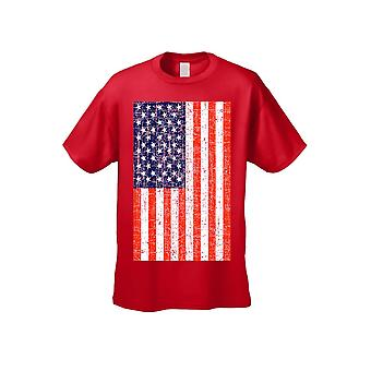 USA Flag T Shirt Men's Distressed American Pride Short Sleeve