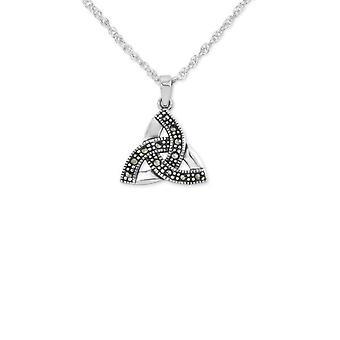 Celtic Holy Trinity Knot Necklace Pendant - Marcasite Stones - Includes A 22