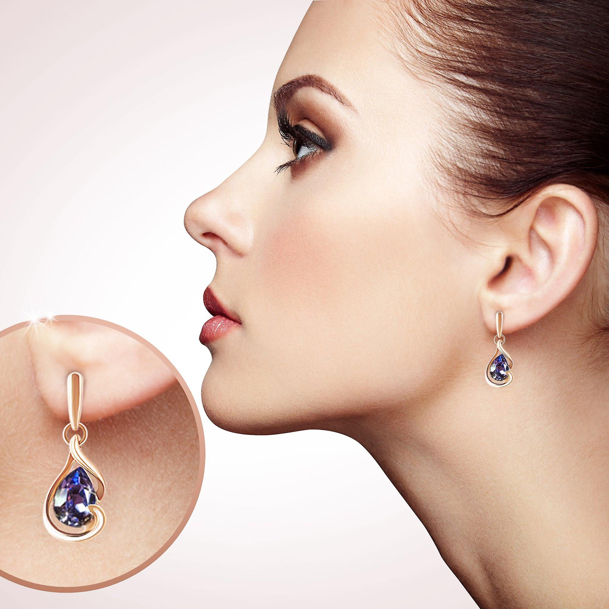 Pair of stud earrings for women with swarovski crystal. gold plated earrings. by 2splendid. gift box included. eqz001-gp