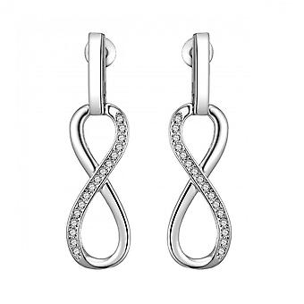 Silver infinity drop earrings created with swarovski® crystals