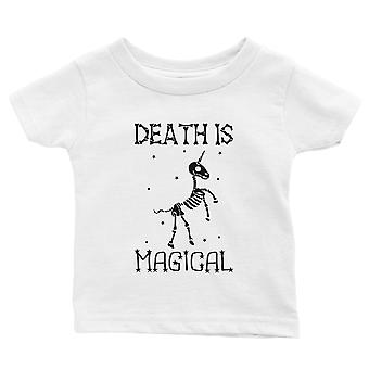 Death is Megical Unicorn Skeleton Funny Halloween Baby Gift Tee White
