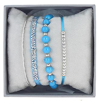 The Interchangeable Set A54403 - Strass Box Jonc Palladium Turquoise Wire