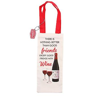 CGB Giftware Good Friends With Wine Bottle Bag
