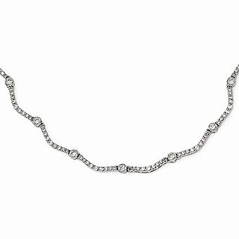 Cheryl M 925 Sterling Silver Fancy CZ Cubic Zirconia Simulated Diamond Necklace 18.5 Inch Jewelry Gifts for Women