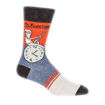 Blue q - mr. punctual mens crew socks