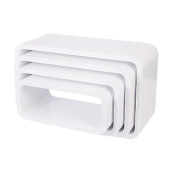 Sebra-unitati de depozitare-ovale-set de patru-mat alb