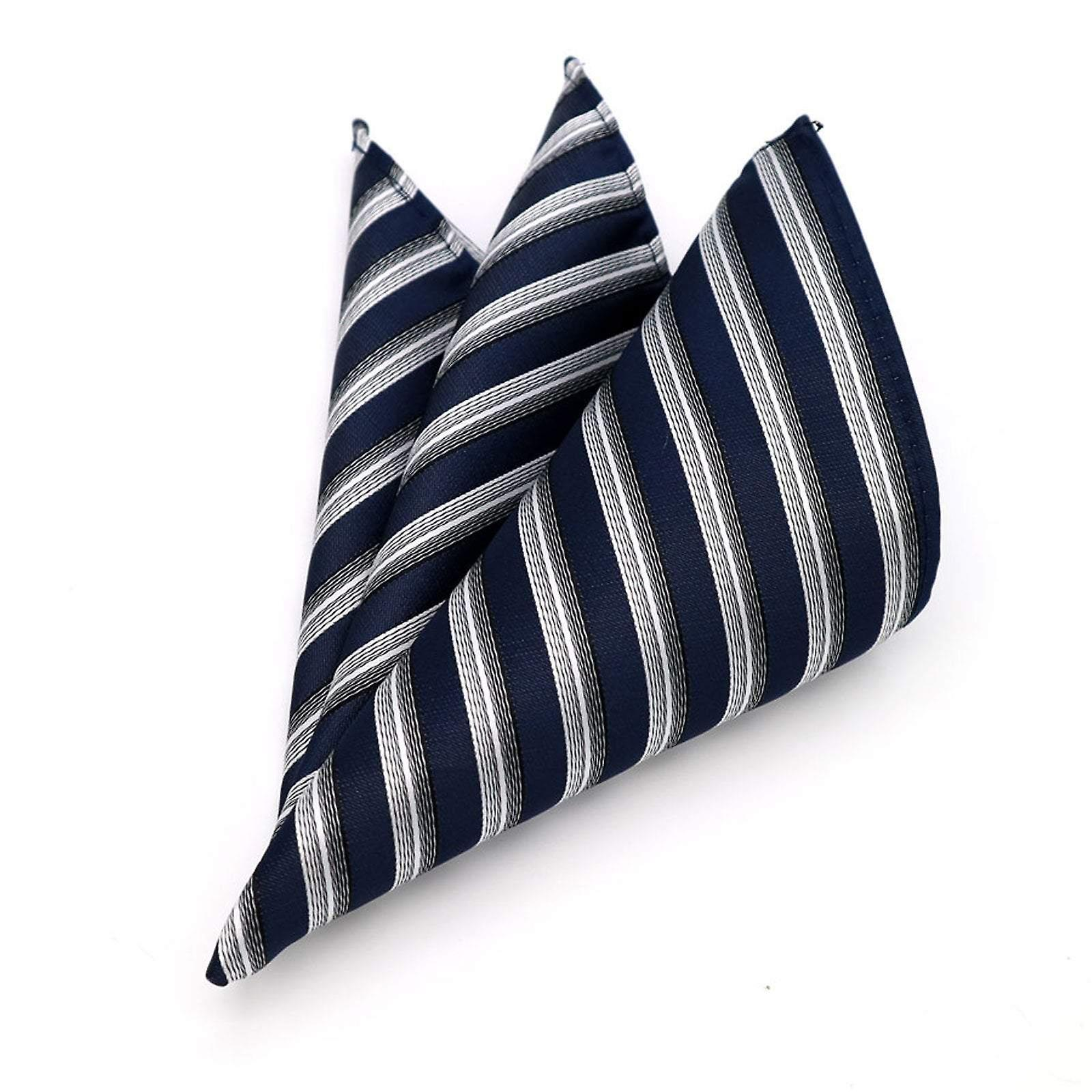 Navy blue & white silver stripe patterned pocket square
