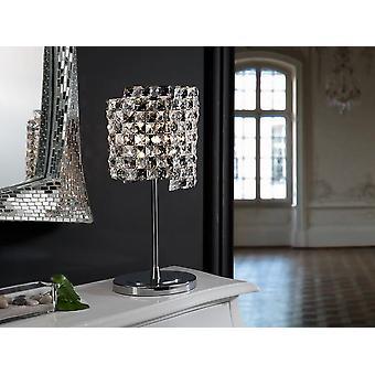 Schuller Sat - Lampe de table en métal chromé et en maille de cristal à facettes K9. Cristaux clairs et de fumée combinés. Couvercle supérieur chromé. Plug type G (Royaume-Uni). - 161461UK