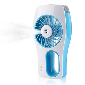 Handheld Usb Misting Cooling Fan Humidifier Oil Diffuser Mini Beauty Replenishment Fan  Blue & White