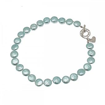 Nour London Flat Pearls Necklace Heart Detail