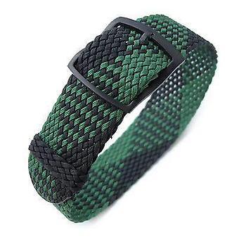 Strapcode fabric watch strap 20mm miltat perlon watch strap, black & green, pvd black ladder lock slider buckle