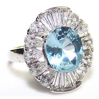 Ah! Gioielli Ballerina Setting London Blue Lab Creato Diamond Ring. 12mm Centre Stone.