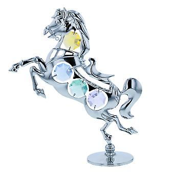 Crystocraft Horse Miniature Freestanding Silver Plated Ornament Made With Swarovski Crystals.