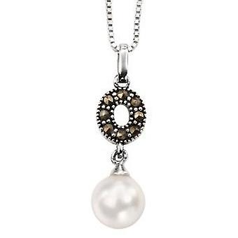 Elements Marcasite Crystal, Imitation Pearl Drop Pendant, 18