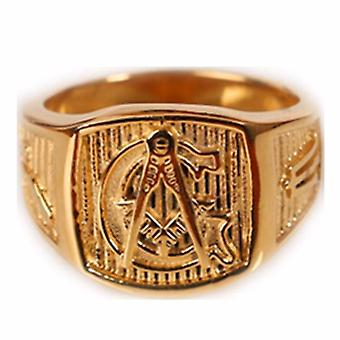 Gold tone freemason ring