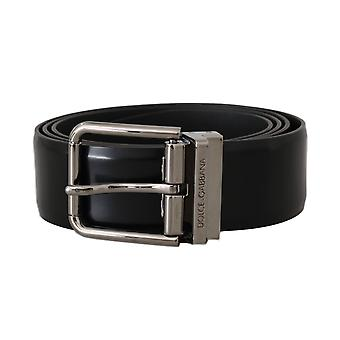 Black leather logo silver buckle belt