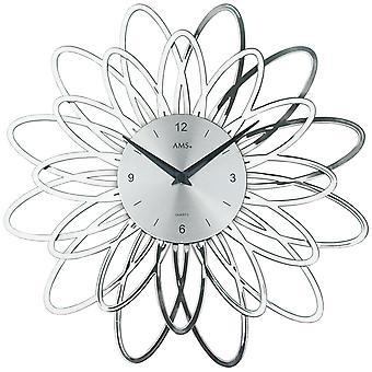 AMS 9362 wall clock quartz analog silver modern floral design