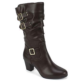 Rialto Womens Flack Fabric Round Toe Mid-Calf Fashion Boots