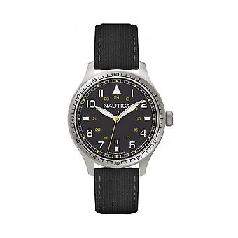 Nautica A10097G BFD 105 Män's Black Leather Watch - Svart