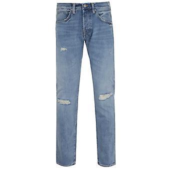 Edwin ED-55 Regular Tapered Fit Rainbow Selvage Light Blue Denim Jeans