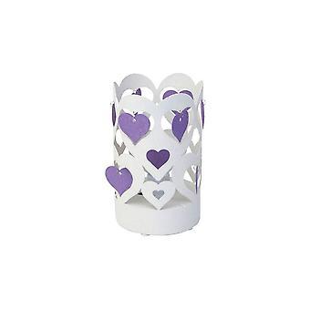 Lampada da Tavolo Love Color Bianco, Viola in Metallo 15x15x26 cm