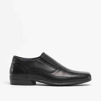 Roamers Ronny Boys Cuir Slip On Shoes Noir