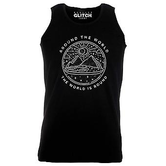 Reality glitch the world is round glober mens vest