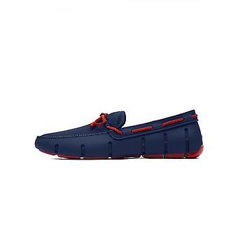 Swims Navy & rode alert gevlochten Lace loafer