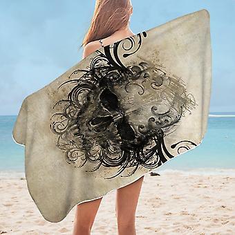 Scary Skull Drawing Microfiber Beach Towel