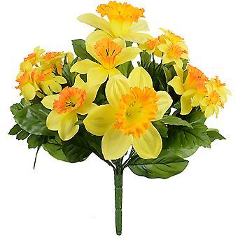32cm Yellow Fabric Daffodil Bouquet - Artificial Silk Flowers