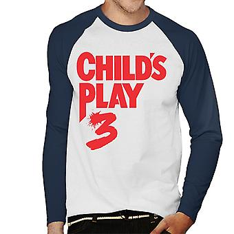 Chucky Childs Play 3 Classic Red Logo Men's Baseball Long Sleeved T-Shirt