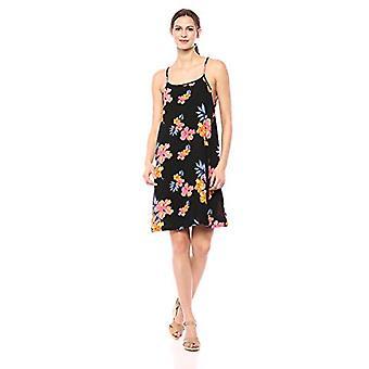 28 Palms Women's Tropical Hawaiian Print Spaghetti Strap Shift Dress, Black/O...