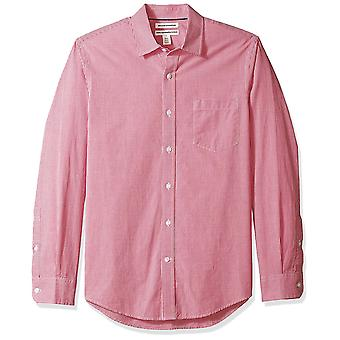 Essentials Men's Slim-Fit Long-Sleeve, Red Mini-gingham, Size Large