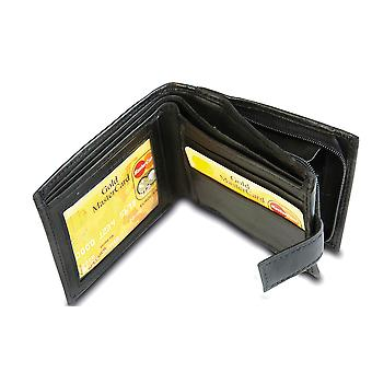 Primehide BASIC - Mens Leather Wallet - RFID Blocking - Preto / Marrom - 44