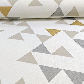 Galerie Wallcoverings Galerie Unplugged Triangle Pattern Geometric Metallic Gold Vinyl White Beige Gold Wallpaper