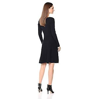 Lark & Ro Women's Long Sleeve Ribbed Crewneck Fit e Flare Sweater Dress, Na...