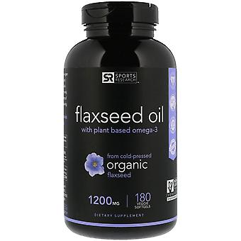 Sports Research, Flaxseed Oil with Plant Based Omega-3, 1,200 mg, 180 Veggie Sof