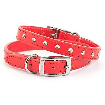 Ancol Heritage Leather Studded Collar - Red - 19mm x 35-43cm (Size 4)