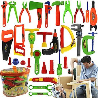 34pcs/set Boys Toy Repair Tools- Ax Carpentry Plastic Simulation Tools For Children Early Learning Educational