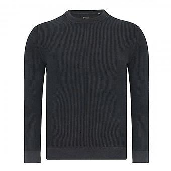 Superdry Academy Dyed Texture Crew Neck Jumper Washed Negro QS5
