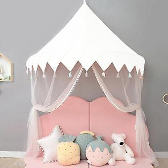 Kids Teepee Tents Play House Castle Cotton Foldable Tent Canopy Bed - Curtain