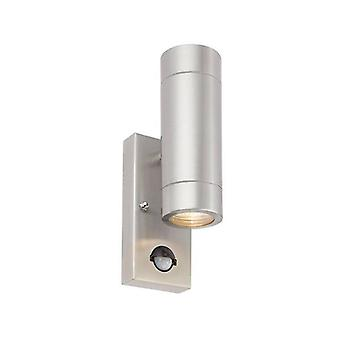 2 Ljus utomhus PIR upp och ner kustvägg ljus marin kvalitet borstat rostfritt stål, glas IP44, GU10