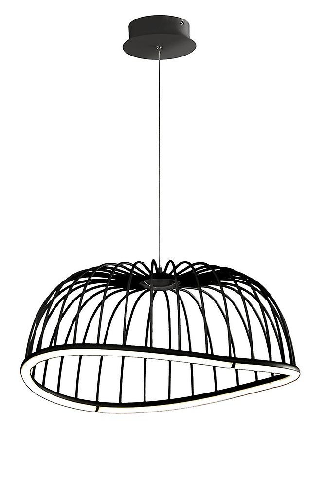 Caged Ceiling Pendant 61cm Round, 30W LED, 3000K, 2100lm, Black